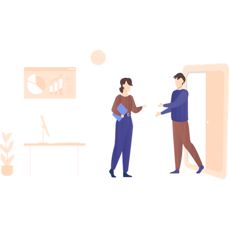 Colleagues sharing business document Illustration