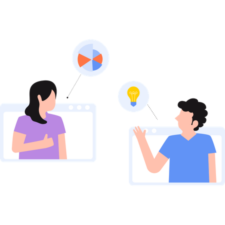 Colleagues sharing idea in online meeting Illustration