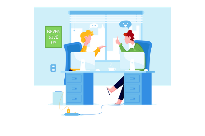 Colleagues talking in office Illustration