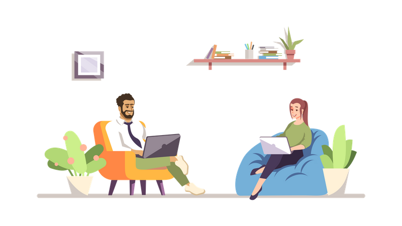 Colleagues Working Together Illustration