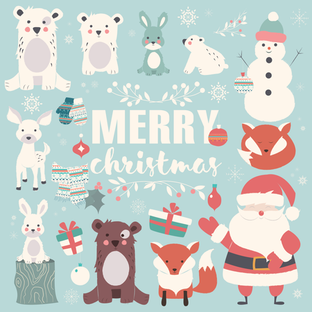 Collection of Christmas animals, lettering and Santa Claus, Merry Christmas Illustration