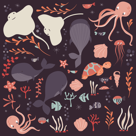 Collection of colorful sea and ocean animals, whale, octopus, stingray, jellyfish, turtle, coral Illustration