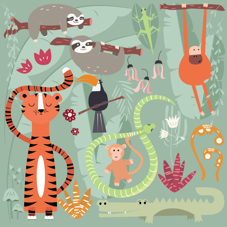 Collection of cute rain forest animals, tiger, snake, sloth, monkey Illustration