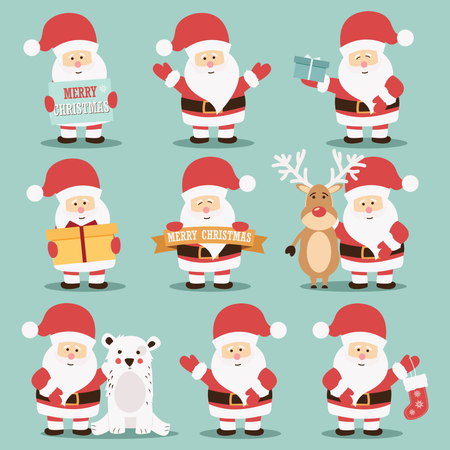 Collection of cute Santa Claus characters with reindeer, bear and gifts Illustration