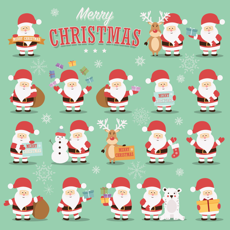 Collection of cute Santa Claus characters with reindeer, bear, snowman and gifts Illustration