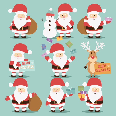Collection of cute Santa Claus characters with reindeer, snowman and gifts Illustration