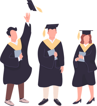 College students holding bachelor diplomas Illustration