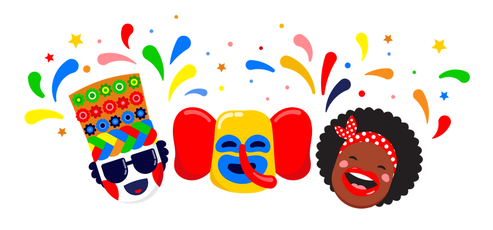 Colombian carnival party Illustration