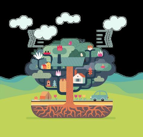 Colony on tree Illustration