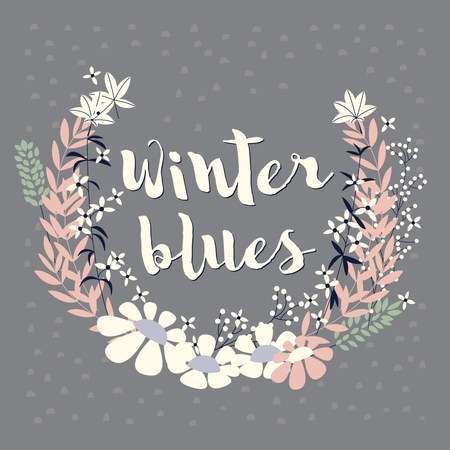 Colorful collection of winter floral arrangement and flowers for invitation, wedding or greeting cards, vector illustration Illustration
