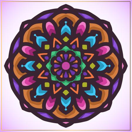 Colorful mandala art with circular floral motifs element Illustration