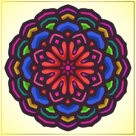 Colorful mandala art with floral motifs Illustration