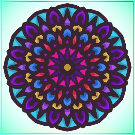 Colorful mandala art with floral motifs element Illustration