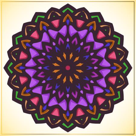 Colorful mandala art with vintage floral motifs element Illustration