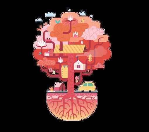 Colorful tree house Illustration