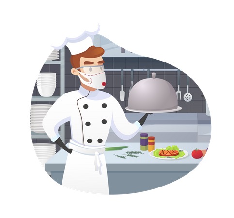 Commercial Kitchen with Cartoon Characters Chef Cook Dish Dinner Illustration