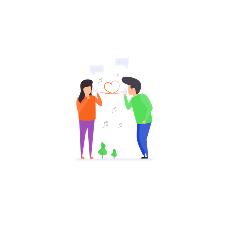 Communicate with  Friend Illustration