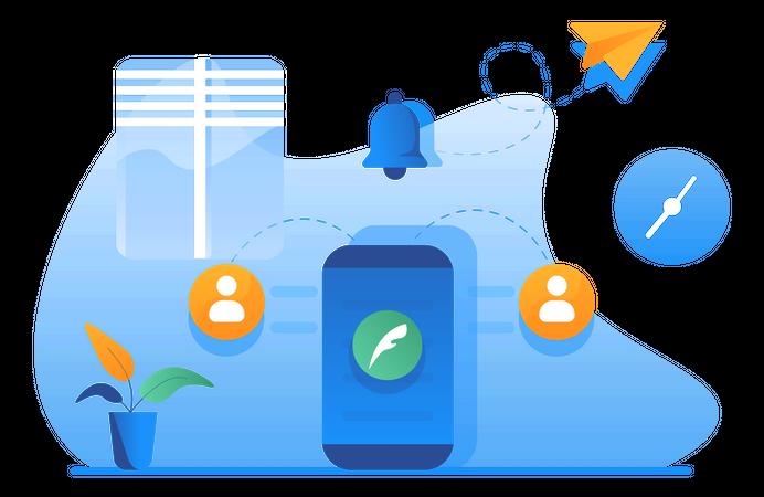 Communicating Through Mobile Phone Illustration