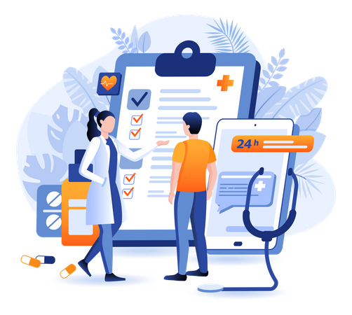 Communicating With Doctor Online Using Support Line Illustration