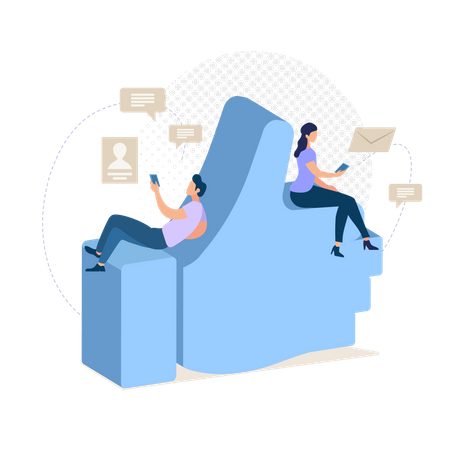 Communicating with Friend Illustration