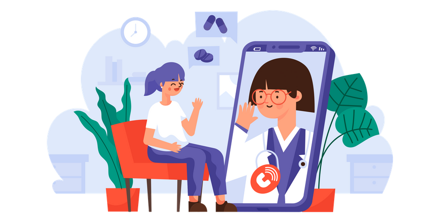 Communication and Consultation via Video Call from Home for Coronavirus Illustration