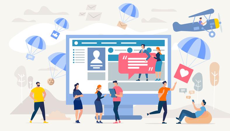 Communication in Social Network Illustration