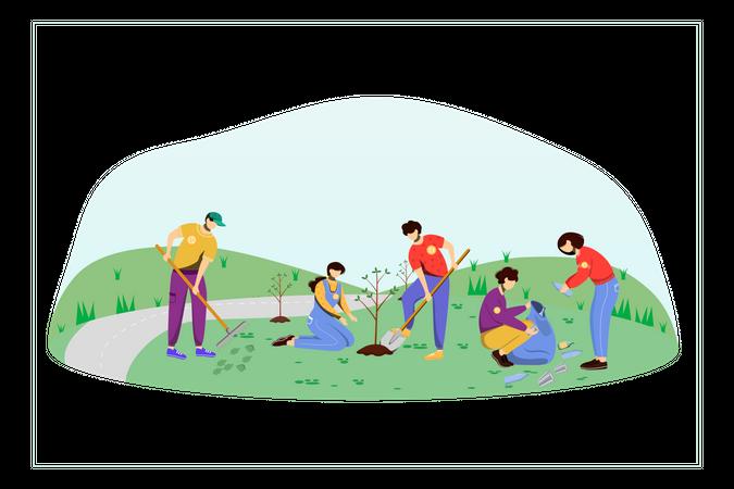 Community Work Day Illustration