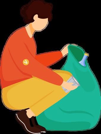 Community worker cleaning trash Illustration