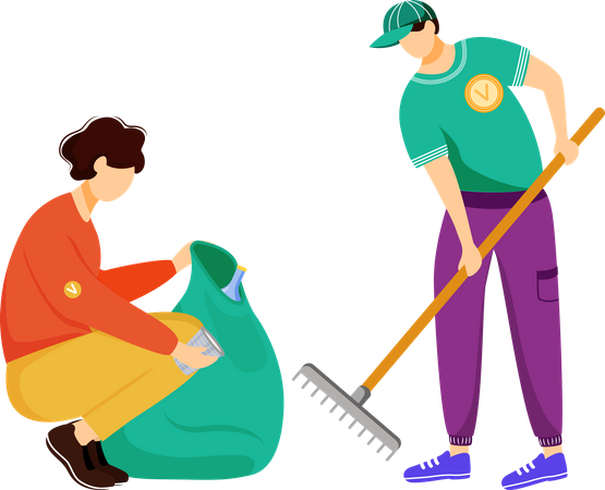 Community workerw cleaning trash Illustration