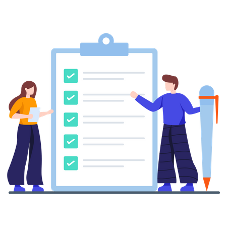 Company employees checking daily task list Illustration