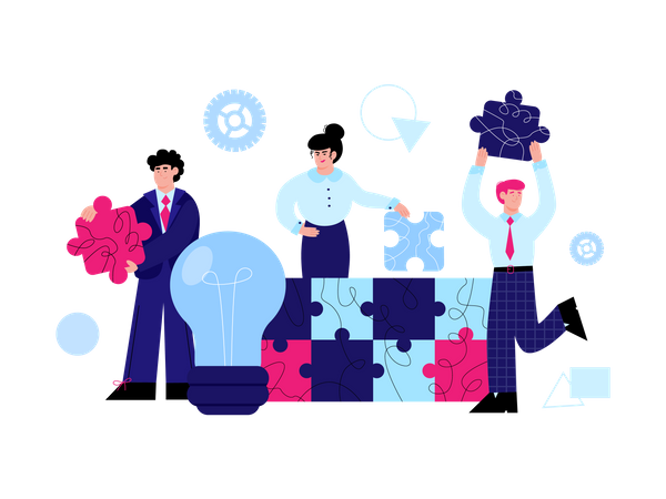 Company Employees with successful idea Illustration