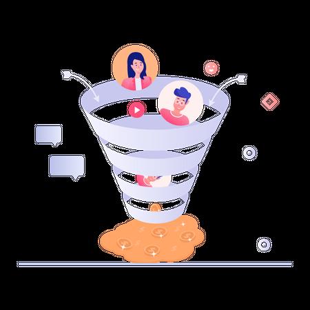 Company Employees Working On Social Media Marketing And Gaining Profit Illustration