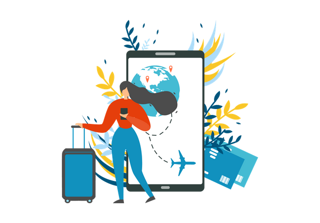 Company Offering Best Trip and Online Mobile Booking Service Illustration