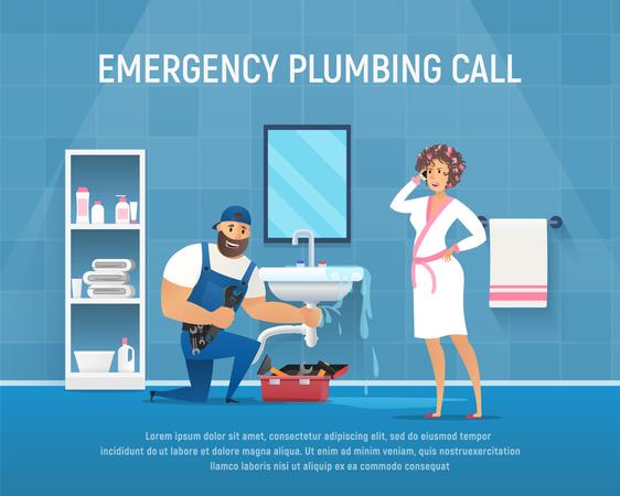 Company Plumber Repair Pipe Leak under Washstand in Bathroom Illustration