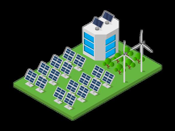 Company producing renewable energy Illustration