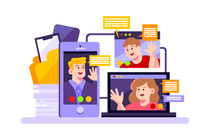Company use online meeting for discussing their business Illustration