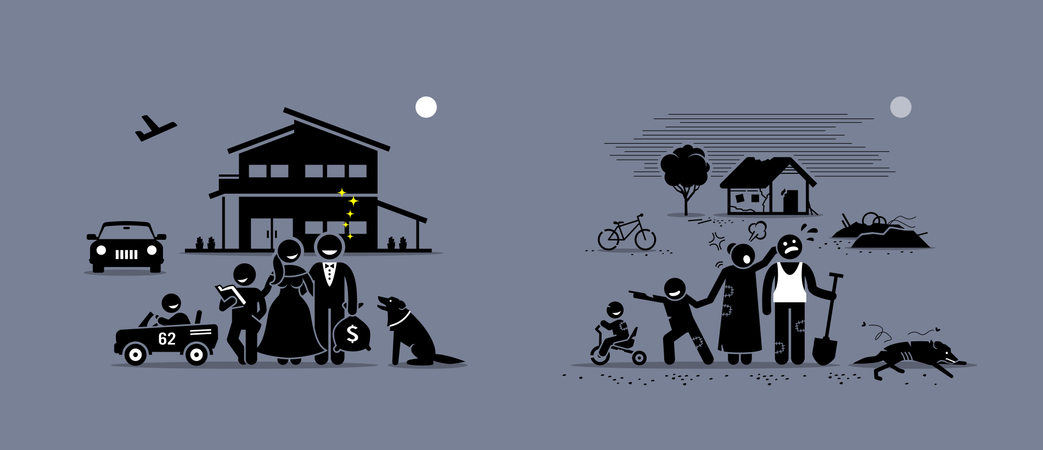 Comparison and difference between rich and poor family Illustration