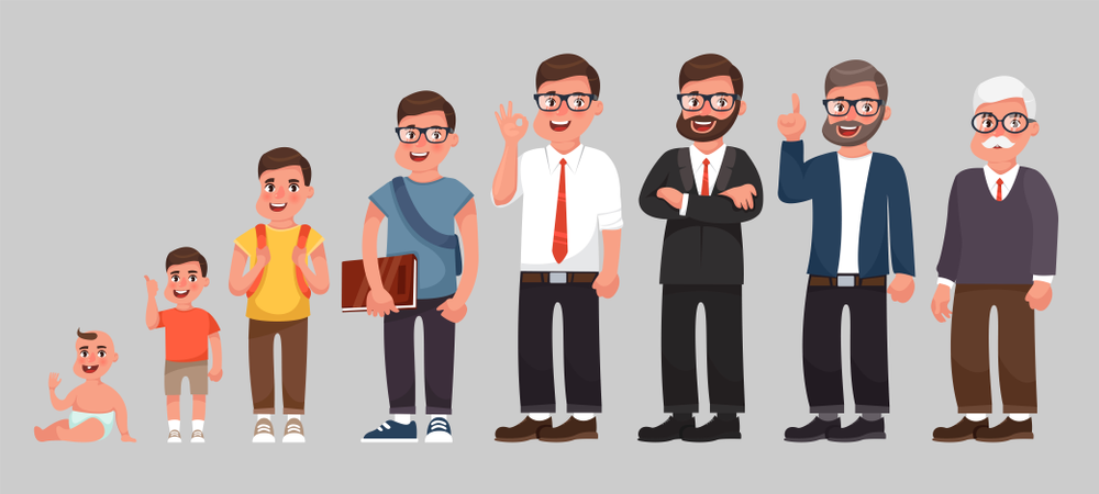 Complete life cycle of person's life from childhood to old age Illustration