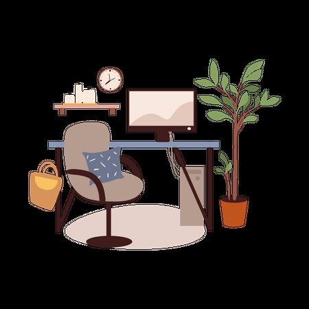 Computer Desk Illustration