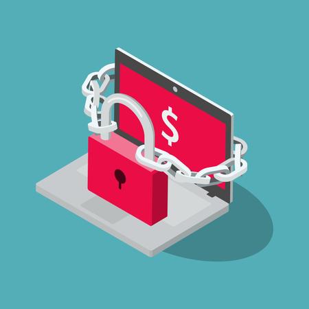 Computer ransomware attack symbol Illustration