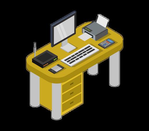 Computer table Illustration