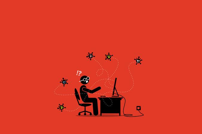 Computer virus infecting a desktop Illustration