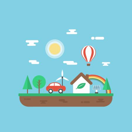 Concept-based Illustration For Ecology Island Illustration