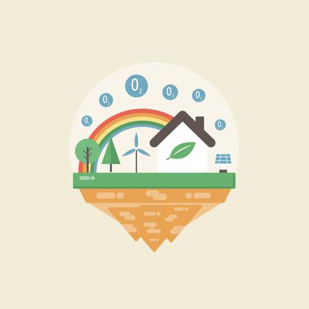 Concept-based Illustration Of Eco Island Illustration