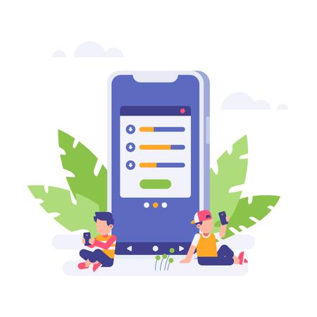 Concept-based illustration of loading page in mobile app Illustration