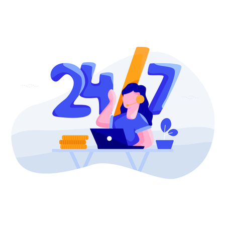 Concept of 24/7 customer support Illustration
