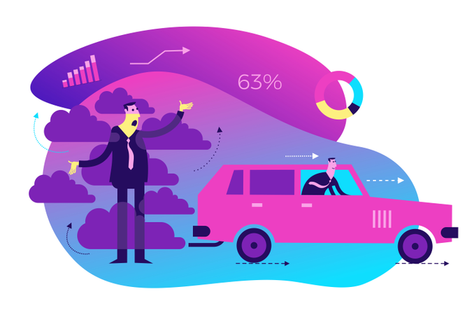 Concept of air pollution from car Illustration