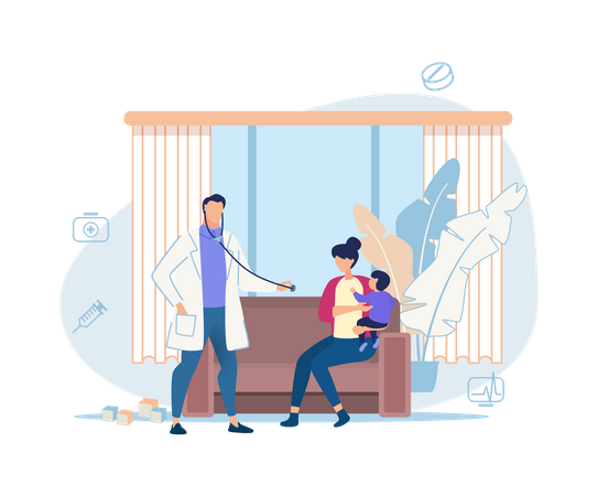 Concept of baby or kid medical checkup at home Illustration