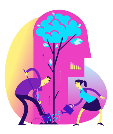 Concept of benefits of tree plantation Illustration