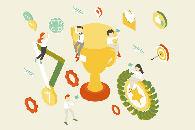 Concept of Business achievement and success Illustration